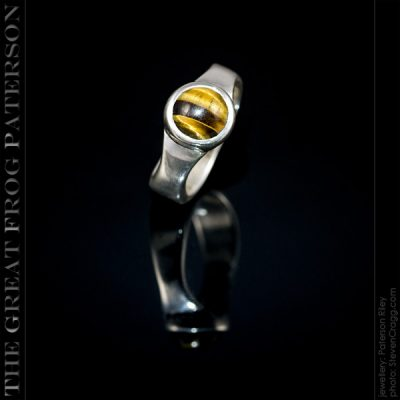 Silver 8mm Waisted Band Gemstone Ring - Tigers Eye | The Great Frog Paterson