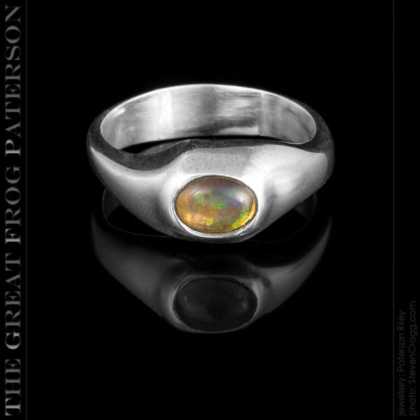 silver asymmetric wasted band ring - fire opal