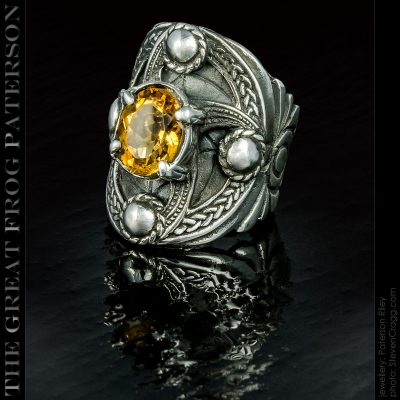The Great Frog: Silver Celtic Shield ring