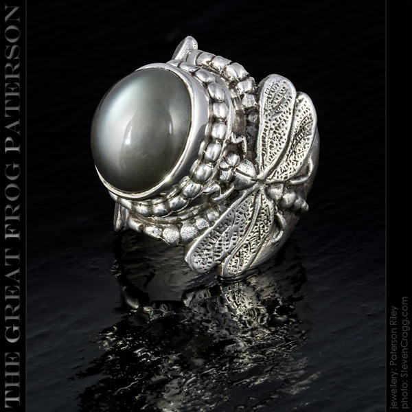 Large Silver Dragonfly Ring - shadow moonstone | The Great Frog Paterson