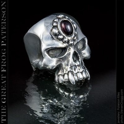 Large Stoned Skull Ring