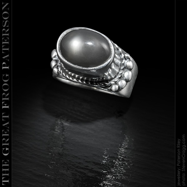 High Set silver gemstone ring -shadow moonstone | The Great Frog Paterson