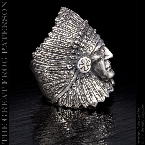 Silver First Nations Warior Chief Ring: large | The Great Frog Paterson