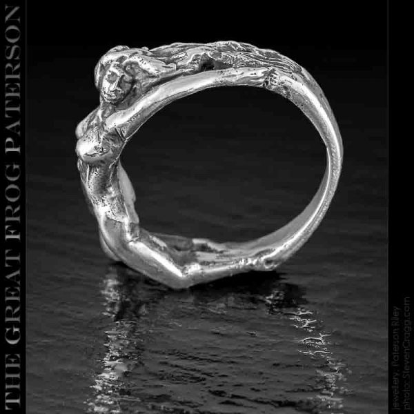 Silver Reclining Nude Woman Ring