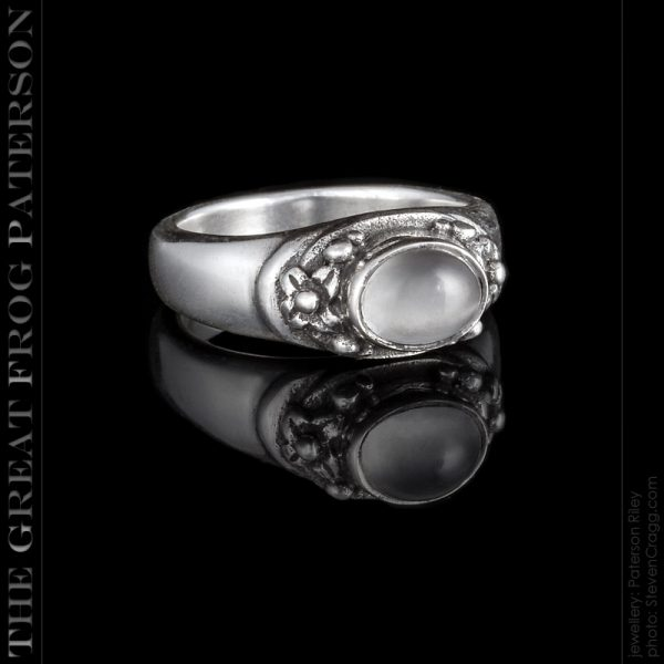 Silver Flower Beaded Stone Ring
