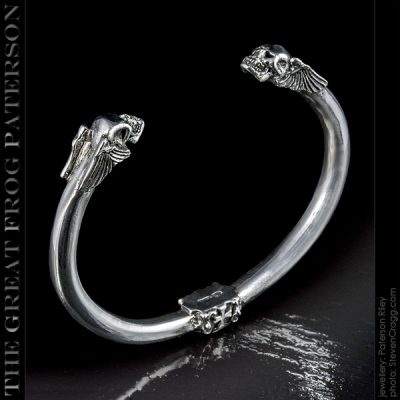 Solid silver Winged Skull Bangle
