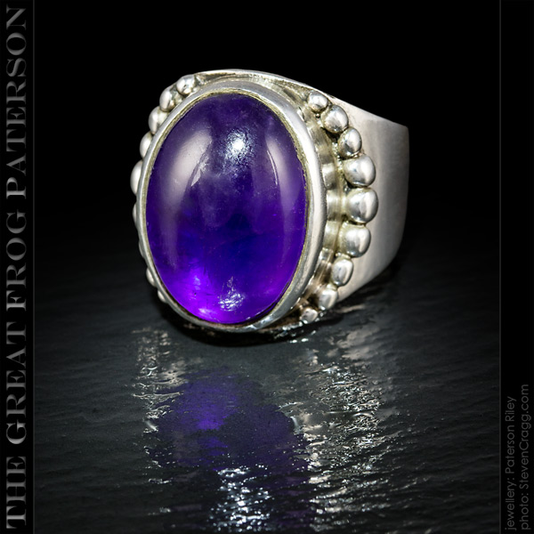 Vertical Beaded Large Silver Gemstone Ring | The Great Frog Paterson