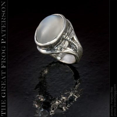 medium dragonfly silver gemstone ring