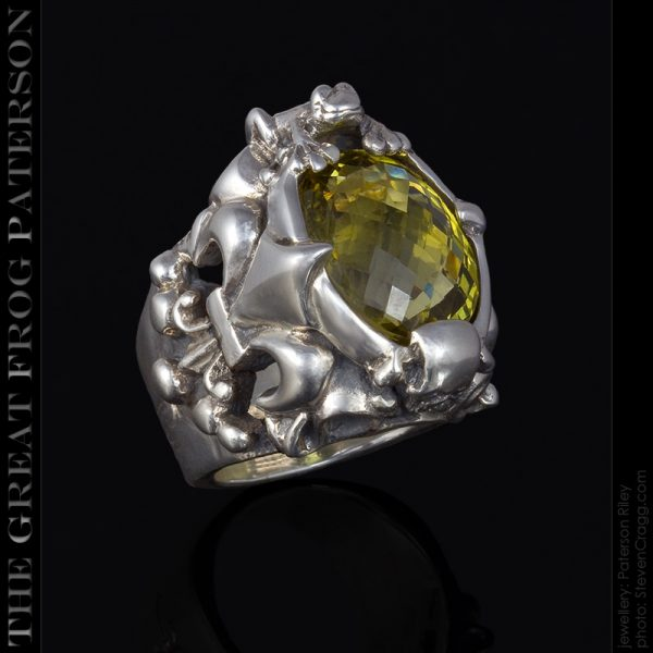 Fleur de Lis Skull Frog silver ring : The Great Frog : Paterson Riley