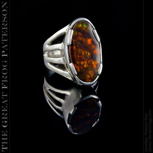 silver gemstone ring - rainbow fire agate - The Great Frog