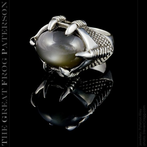 silver gemstone ring - smokey moonstone - The Great Frog
