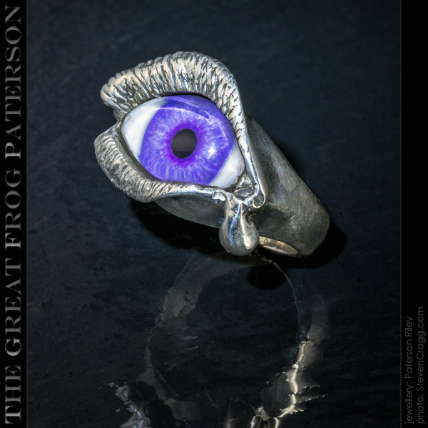 Silver Eye Ring - Long Lash and Tear