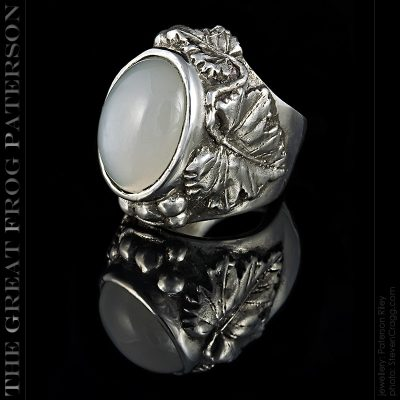 silver gemstone ring - moonstone - The Great Frog
