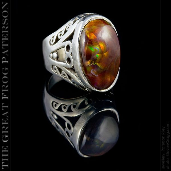 silver gemstone ring - The Great Frog