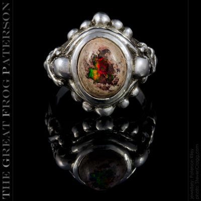 skull and crossbones silver ring : fire opal : the great frog paterson