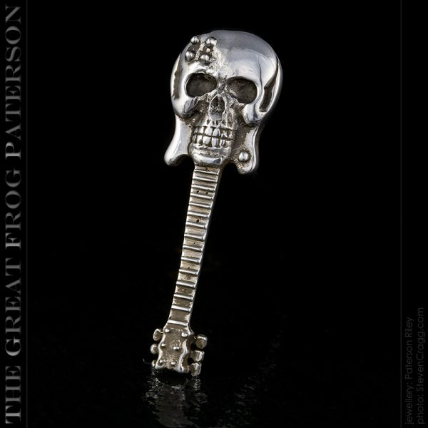 silver guitar skull pendant : The Great Frog Paterson